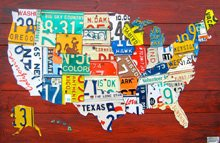 """36"""" License Plate Map of the USA"""