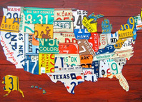 "36"" License Plate Map of the USA"