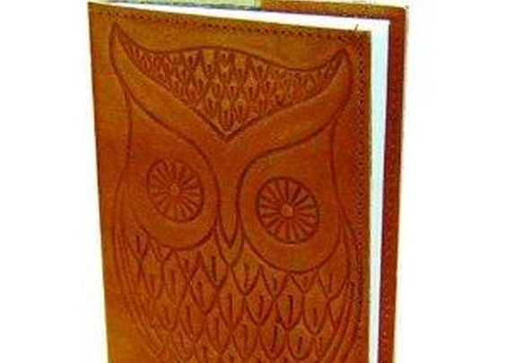 Owl - Leather Writing Journal - Blank - Hand Embossed
