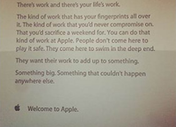 The Inspirational Note Apple Gives to New Employees on Their First Day