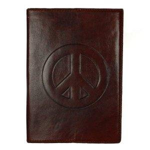 """Leather Writing Journal - Blank - """"Peace"""" Cruelty Free Leather"""