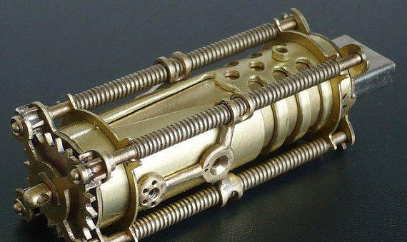 Solid Brass USB Steampunk Handmade Flash Drive 8GB by TechnoMan