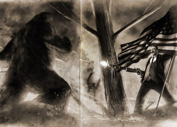 Teddy Roosevelt VS Bigfoot Old Photo Variant HQ by sharpwriter