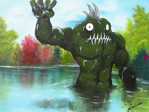 How To Spice Up a Dull Landscape Painting: Put a Monster On It