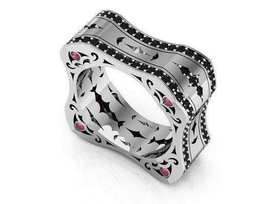 LUZ wedding band in 18k white gold with two rows of black diamonds