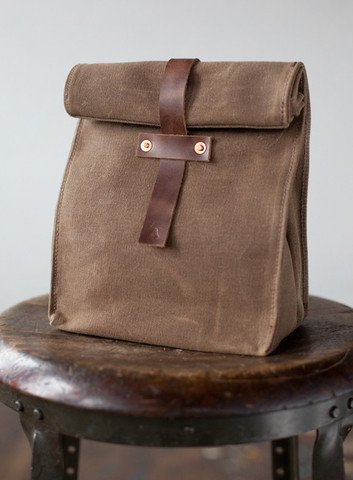 Waxed Canvas and Leather Lunch Tote