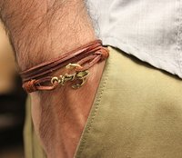Emancipated Soul Leather Anchor Bracelet
