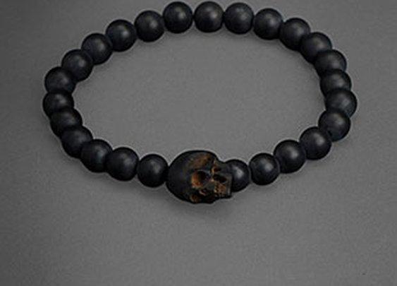 Matte Black Onyx Bracelet with Jet Skull   John Varvatos