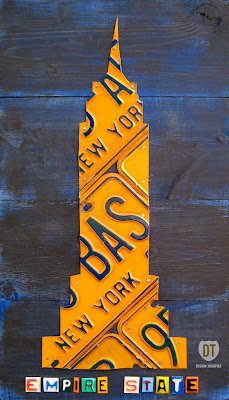 Empire State Building NYC License Plate Art