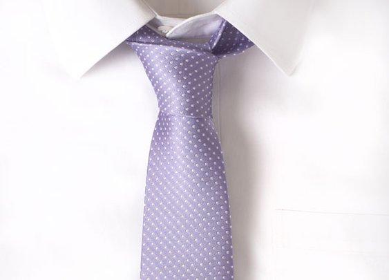 Silk Lavender Pindot Tie
