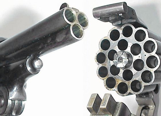 Pew Pew Pew!: Triple-Barreled Pistol Makes 3x The Holes | Geekologie