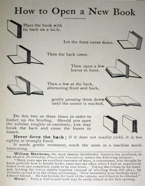 How to open a new book without breaking the binding.