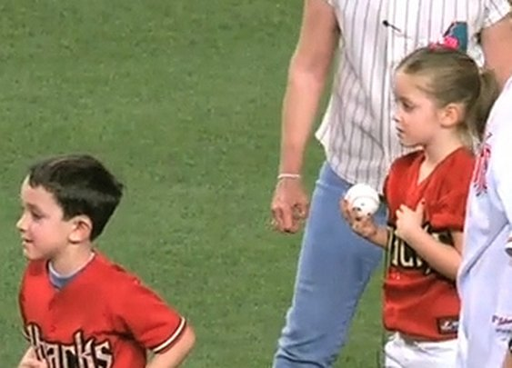 Kids Throw Out First Pitch, Don't Know Their Marine Dad Is The Catcher