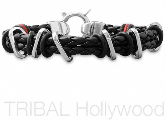 ALIBI Double Stranded Black Braided Leather Mens Bracelet with Colored Rubber and Shiny Stainless Steel Bands