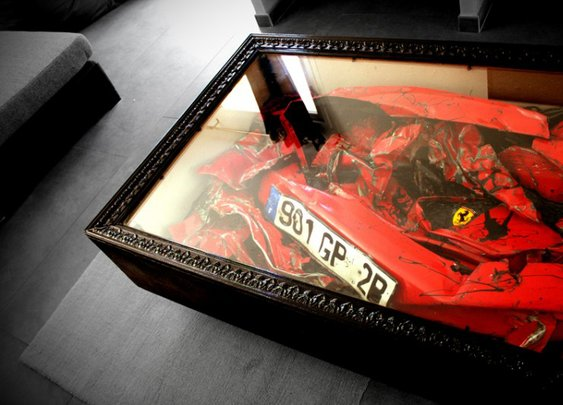 Totalled Ferari coffee table