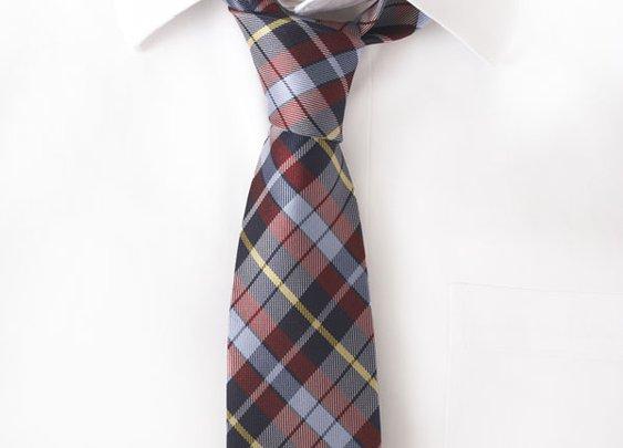 Silk Red & Navy Plaid Tie