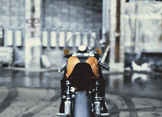 Rear view of a custom motorbike.