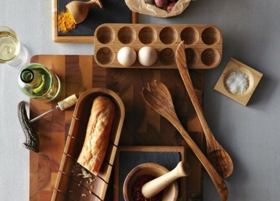 A selection of wooden kitchen utensils.