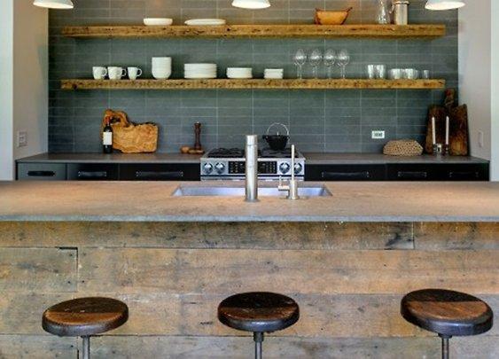 Kitchen interior with wooden shelves.