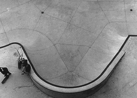 Aerial view of skatepark.