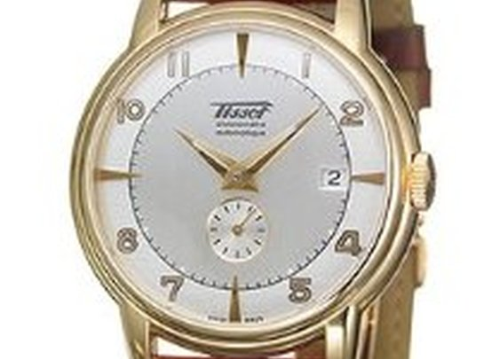 Amazon.com: Tissot Heritage Men's 18K Yellow Gold Case alligator leather strap Silver Dial Swiss Automatic Movement Watch T9044087603200: Watches