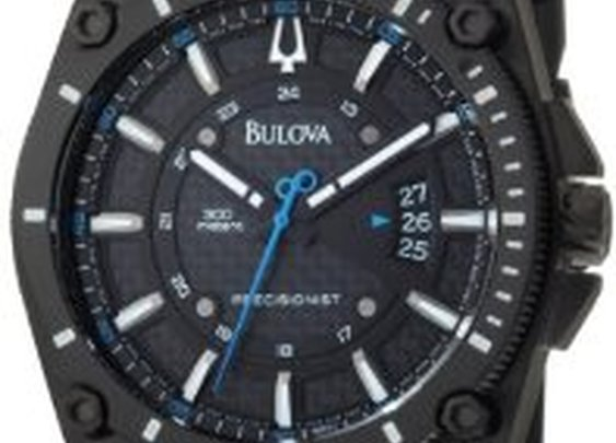 Amazon.com: Bulova Men's 98B142 Precisionist Champlain Black Dial Rubber Strap Watch: Bulova: Watches