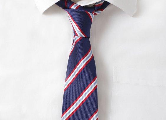 Silk Navy & Red Stripe Tie