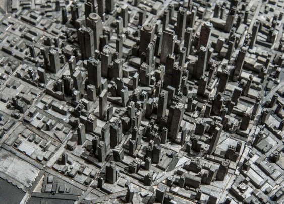 Miniature city made out of metal typography