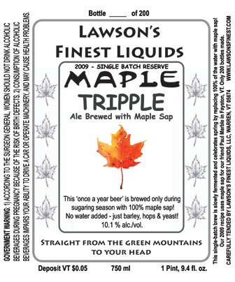 Beer from Vermont Maple Sap - 10.1% a/v