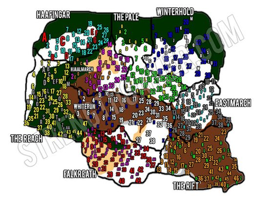 Skyrim Complete Locations Map