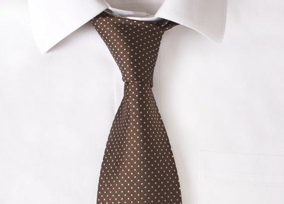 Silk Chocolate Pindot Tie