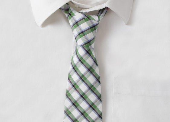 Cotton Green & White Plaid Tie