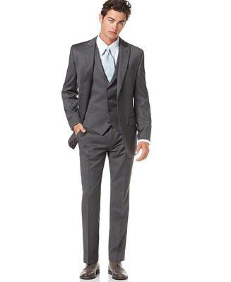Alfani Grey Solid Slim Fit Suit
