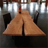 meyer   wells - Dining Table from Rough Hewn Tree