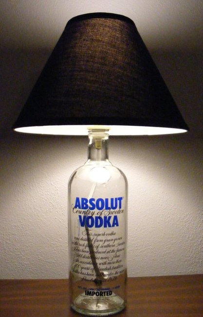 Absolute Vodka bottle lamp