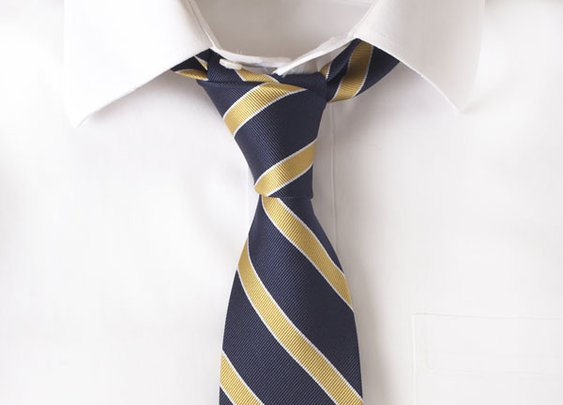 Silk Navy & Gold Stripe Tie