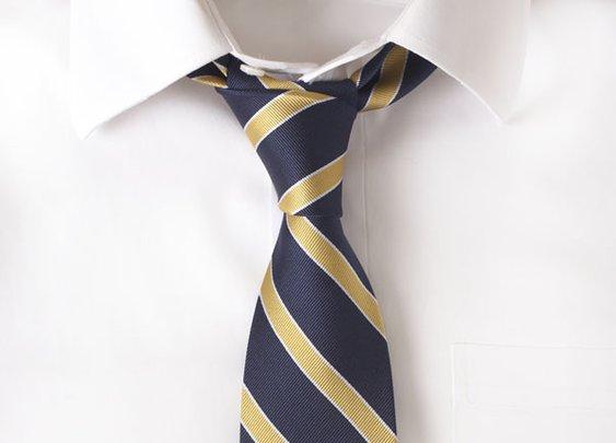 Silk Navy & Gold Stripe Tie