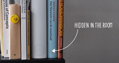 Plugbook:  Disguise Your Cable Mess In Your Bookshelf  | Apartment Therapy