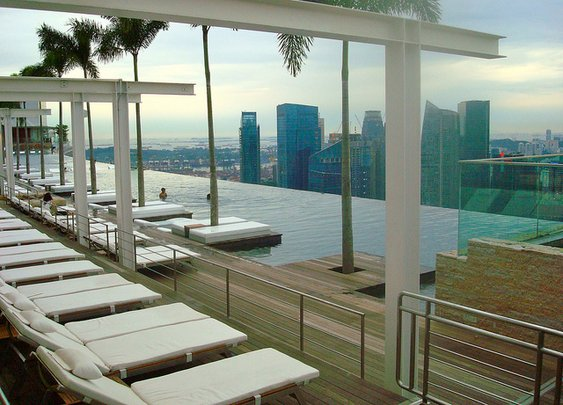 Marina Bay Sands Infinity Pool on Roof overlooking Singapore