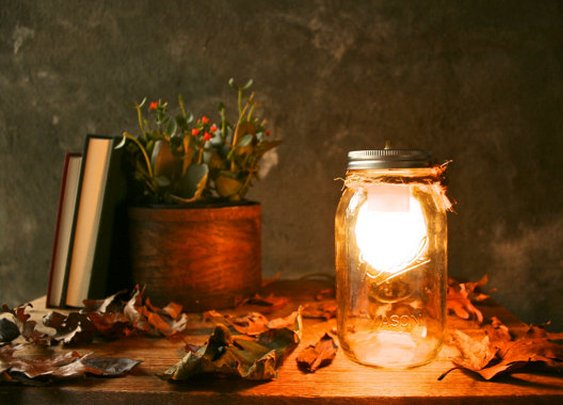 Mason Jar Glass Desk Lamp