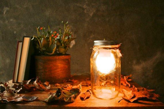 Mason Jar Glass Desk Lamp