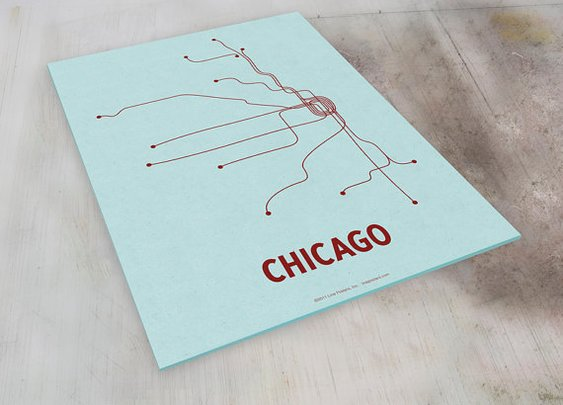Chicago Lineposter Sm Screen Print  Lt Blue/Maroon by lineposters