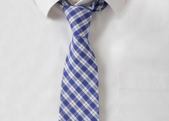 Cotton Blue & Red Plaid Tie
