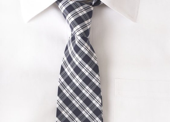 Cotton Navy & White Stripe Tie