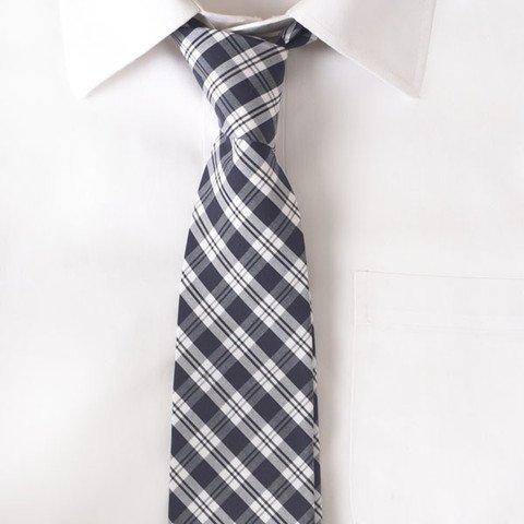Cotton Navy & White Stripe Tie