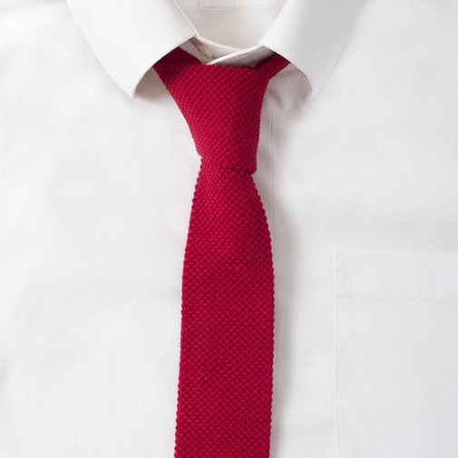 Knit Cotton Fire Red Tie - Gentlemint