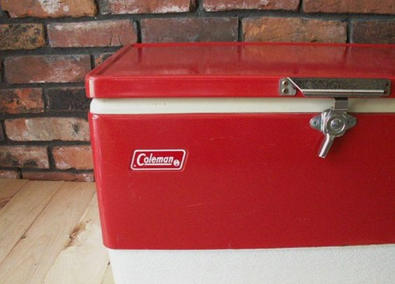 Vintage 1977 RED COLEMAN Metal Cooler Ice Chest by OldMillVintage