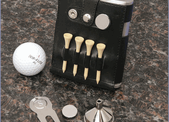 Personalized Best Man Leather Golf Flask