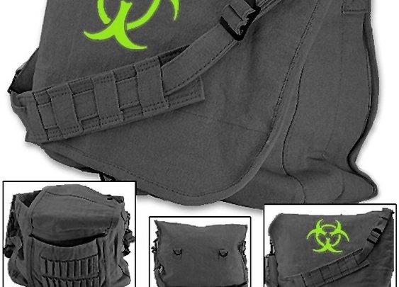 Post-apocalyptic Zombie Bag w/ Bio-hazard & Strap