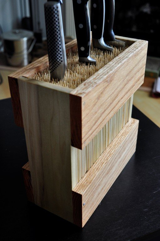 Bamboo skewer knife block